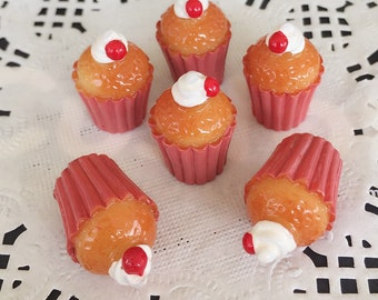 3pcs.13x22mm.Miniature Cabochon Cupcakes,Miniature Cupcakes,Cabochon,Resin,Miniature Sweet,Mobile Accessories,Miniature
