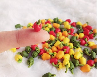 Miniature Bell Pepper,Miniature Vegetable,Dolls and Miniature,Red Bell pepper,Miniature Accessories,Dolls House,Miniature Jewelry,Hot pepper