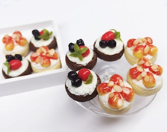 Miniature Fruit Cake 10pcs.,Miniature Sweet,Dolls House food,Miniature bakery,Miniature Cake,Dolls House Bakery,Miniature Jewelry,DIY,gifts