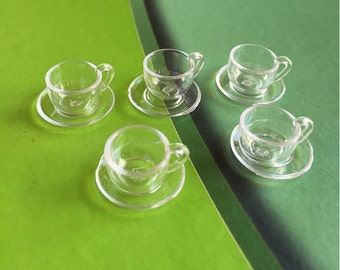 2/4 pcs.Miniature Cup,Miniature Coffee Cup,Miniature Tea Cup,DollHouse Miniatures,Acrylic cup,Miniatures food,Miniature Sweet,DIY
