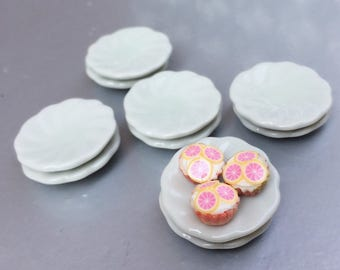 5 pcs.Miniature Plate,Ceramic Plate,Miniature food Plate,Dollhouse Plate,Small Plate,Dollhouse tray,Miniature tray,DIY,Dollhouse Accessories