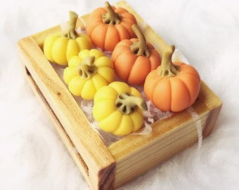 Miniature Pumpkins in the Wooden Tray,Miniature Pumpkin,Dolls House, Miniature Vegetable,Miniature dolls,Miniatures accessories,DIY