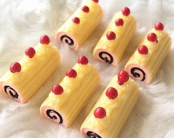 2pcs.10x20mm.Miniature Cabochon Cakes,Miniature Cookies,Miniature Cake Cabochon,Resin,Miniature Sweet,Miniature Cake Roll Cabochon,