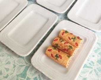 2 pcs.Miniature Ceramic Tray, Miniature Tray,Miniature food Tray,Dollhouse Tray,Ceramic tray,Dollhouse food tray,Dollhouse and Miniature