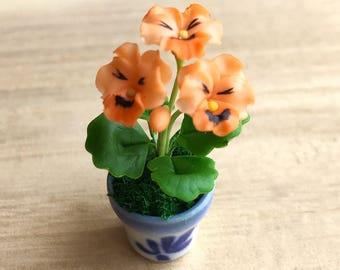 Miniature Flower,Miniature Flower Pot,Miniature Vase,Dollhouse Flower,Miniature Garden,Dollhouse Flower Pot,Miniature Pansy,clay flower