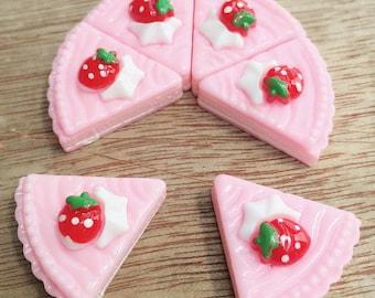 3pcs.21x22mm.Miniature Cabochon Cakes,Miniature Cookies,Miniature Cake Cabochon,Resin,Miniature Sweet,Miniature Strawberry Cake