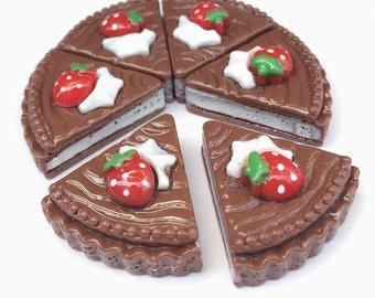 21x22mm.Miniature Cabochon Cakes,Miniature Cookies,Miniature Cake Cabochon,Resin,Miniature Sweet,Miniature Chocolate Cake