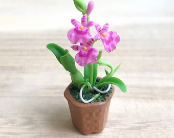 Miniature Flower,Miniature Flower Pot,Miniature Orchid,Dollhouse Flower,Miniature Garden,Dollhouse Orchid,Orchid Flower