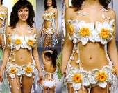 Fairy swimsuit, Flowers Narcissus bikini set, Woodland two piece swimsuit, Belly dance