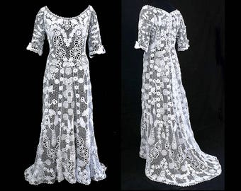 058ae6040 Custom Wedding Dress Antique Vintage style White Flower Irish Crochet Short  sleeve Bridal Gown Victorian Edwardian Medieval 1920s dress