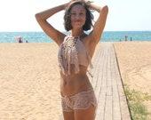 Two piece swimsuit Crochet Halter top with tassels and shorts, Beige Beach set, Crochet Beachwear, women Crop top