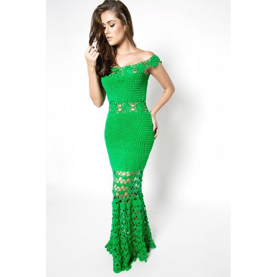 Prom long dress Green crochet dress long Evening Bridesmaid | Etsy
