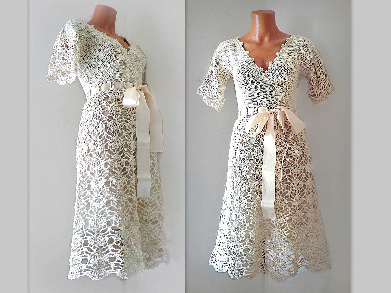 Simple Bridal Dress With Short Sleeves Midi Wrap Lace Dress Boho Style Bridesmaid Dress Crochet Cotton Alternative Wedding Ecru Casual Dress