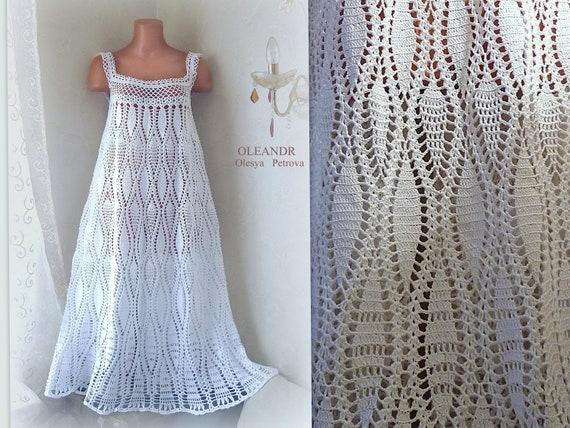 Casual sleeveless square neck Plus size long dress. Soft cotton crochet  knited Maternity dress. Simple wedding dress.