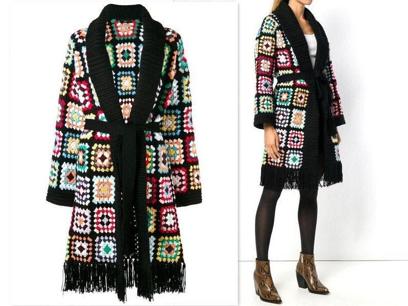 Black Boho Duster Kimono with Fringe Festival Coat Gypsy Style Open Cardigan Women Hippie Clothes Bell Sleeve Jacket Bohemian Clothing