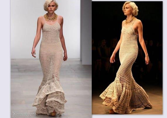 Cream lace wedding dress Crochet bridal Dress Boho wedding | Etsy