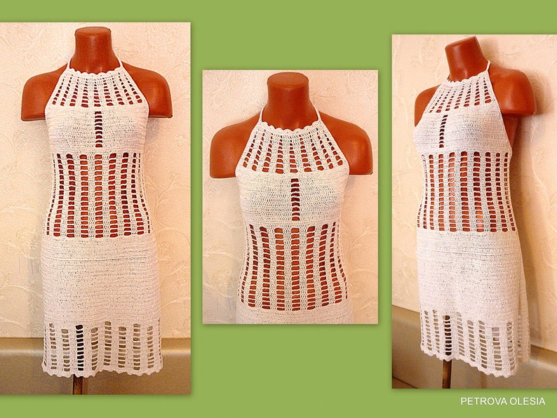 41b7a4291dbc White Crochet Halter dress Lace Dress Open Back Crochet | Etsy