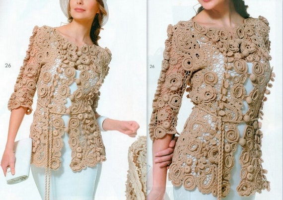 Crochet Lace Cardigans Long Sleeve Cover Up Jacket 3d Flowers Etsy