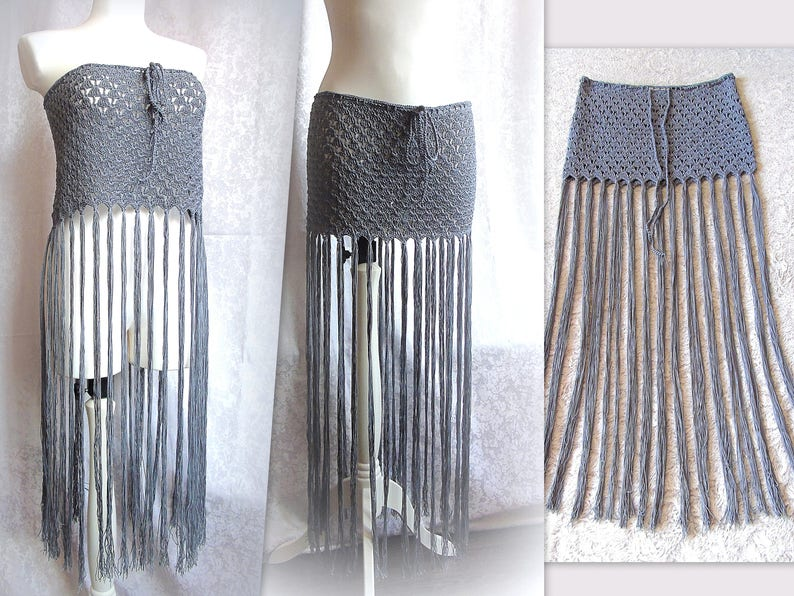 28af6a695f Fringe Crochet Skirt Knitted Top 2 in 1 Beach Hippie Festival   Etsy
