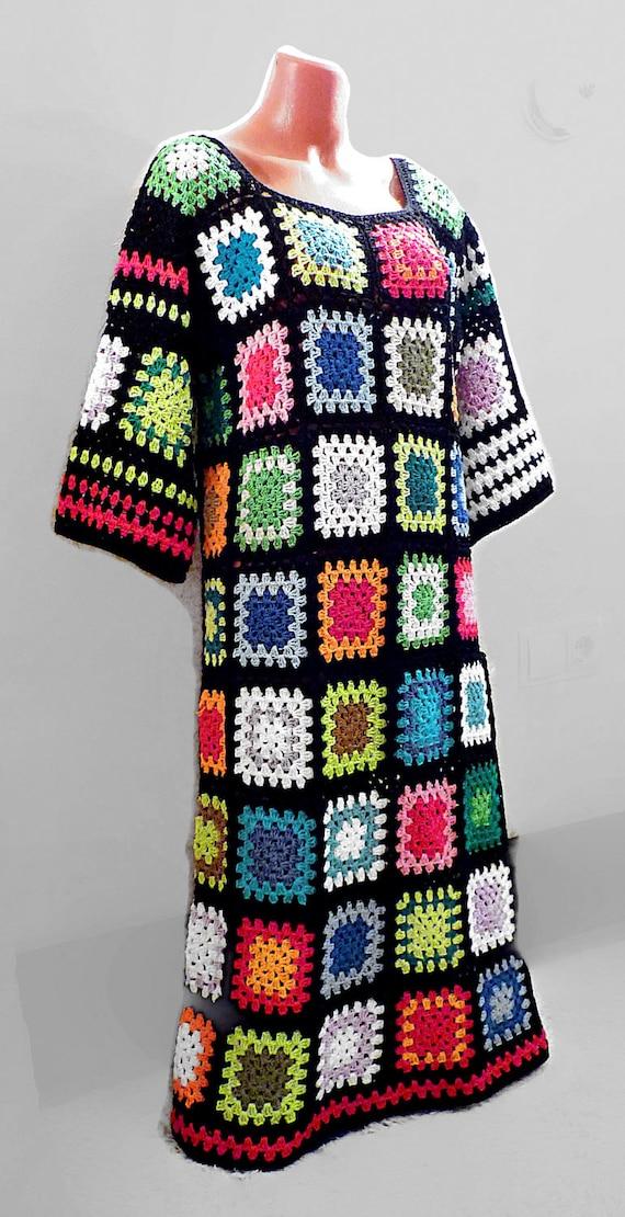 Hippie-Kleid. Häkeln Sie afghanischen Oma Quadrat Maxi-Kleid   Etsy