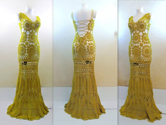 Mustard Evening Dress Open Back Bridal Gown Sexy Crochet Etsy