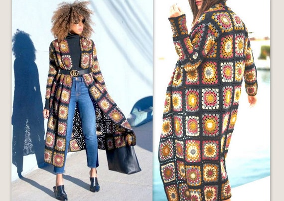 Häkeln PATCHWORK-Mantel Grandma Square Cardigan Damen lange | Etsy