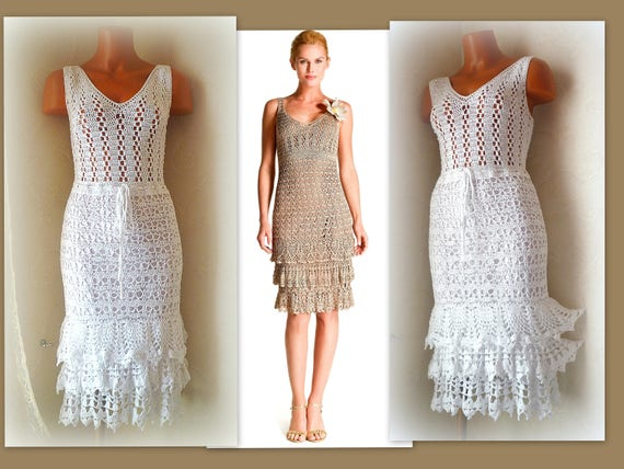 Casual Wedding Dress Crochet Simple Dress White Ruffle