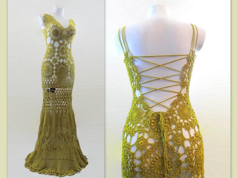 d844e9ad889 Crochet Beach Wedding dress Open back Long Floor Length