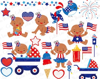 4th of July Baby Girl Clipart / Independence Day Clipart, First Fourth of July / African American clip art