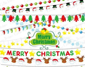 Christmas Clipart Lights Clip Art String Festive Holiday CG089 Instant Download