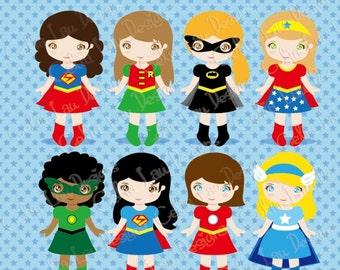SuperGirls Clipart, Cute Girl Superhero clip art , Superheroes clipart / INSTANT DOWNLOAD (S014)