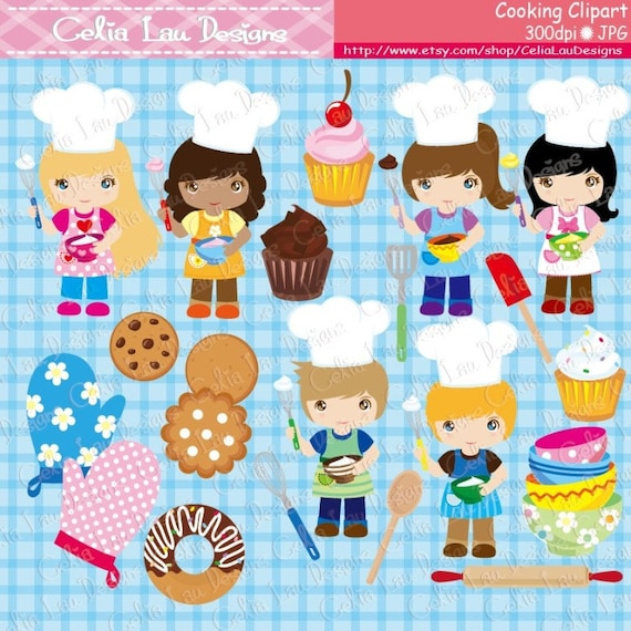 cooking clipart baking clipart little baker cooking etsy