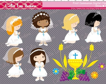 Girl First Communion Clipart / girl 1st communion digital clipart / INSTANT DOWNLOAD  (CG001)