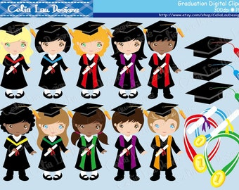 Graduation Clipart , Graduation Kids clip art/  for Personal and Commercial Use / Card Design/ INSTANT DOWNLOAD (CG003)