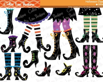 Witch Feet Clip art, Halloween Clipart, Witch Boots Clipart, Happy Witches, Cute Witch Digital Clipart/ Instant Download(CG078)
