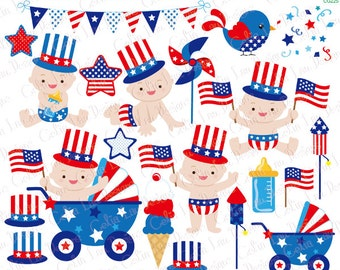 4th of July Baby Boy Clipart/ First Patriotic Day Clipart, Fourth of July / American clip art