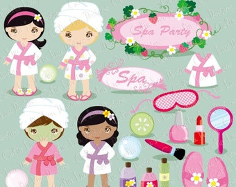 Spa Party Digital Clipart / Girls Spa Party Cute Clip art(CG053) for Personal and Commercial Use / INSTANT DOWNLOAD