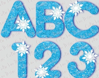 Glitter Alphabet clipart With Frozen Snowflakes , Glitter font for Birthday Party Idea, / INSTANT DOWNLOAD Digital Clipart