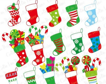 Christmas Stocking , Christmas Digital Clip art, Christmas graphic for Personal and Commercial Use/ INSTANT DOWNLOAD