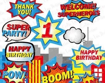 Superhero Text and Bubbles Clipart 3 ,Superhero clipart / comic book style super hero clip art /Super Hero bubble (S022)/ INSTANT DOWNLOAD