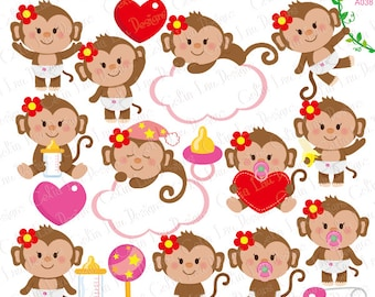 Baby Monkey Clipart, Cute Monkey Baby Girl Clipart