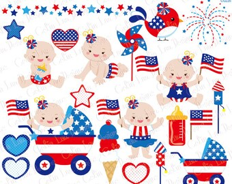 4th of July Baby Girl Clipart/ First Patriotic Day Clipart, Fourth of July / American clip art , Pin wheel , ice-cream , bird, fireworks