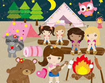 Cute girl and forest animal clip art GIRL Camping party, Camp out party Clipart, Camping clipart,Glamping,and Digital paper set(CG057)