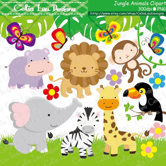 jungle animals clipart baby jungle animals clipart safari etsy