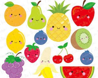 Kawaii Fruit Clipart, Cute Fruit Clip Art , Food clipart (CG209)