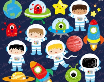 Outer Space Clipart, Boy Astronauts, Rockets, Aliens, Planets, Star