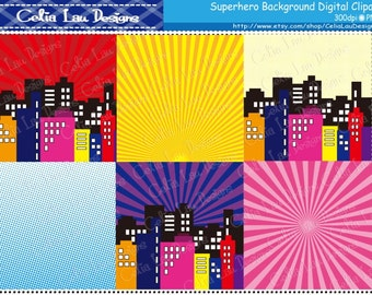"Superhero clipart , Superhero digital paper pack (S015) comic book style super hero clip art ,Superhero Comic book background 12""x12"""