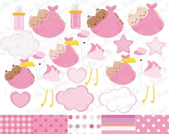 Twins Clipart , Twins Girl Baby Shower Digital clip art set, Baby Bearing Stork , Baby Delivery Stork (CG190)