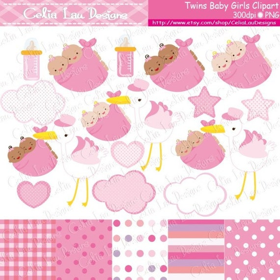 Twins Clipart Twins Girl Baby Shower Digital Clip Art Set Etsy