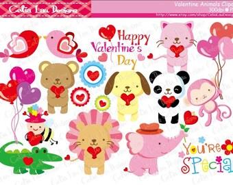 Valentine Animals Clipart , Valentine Baby Animals Clipart, Kawaii Animal Clipart , Happy Valentine's Day(A014 ) / INSTANT DOWNLOAD